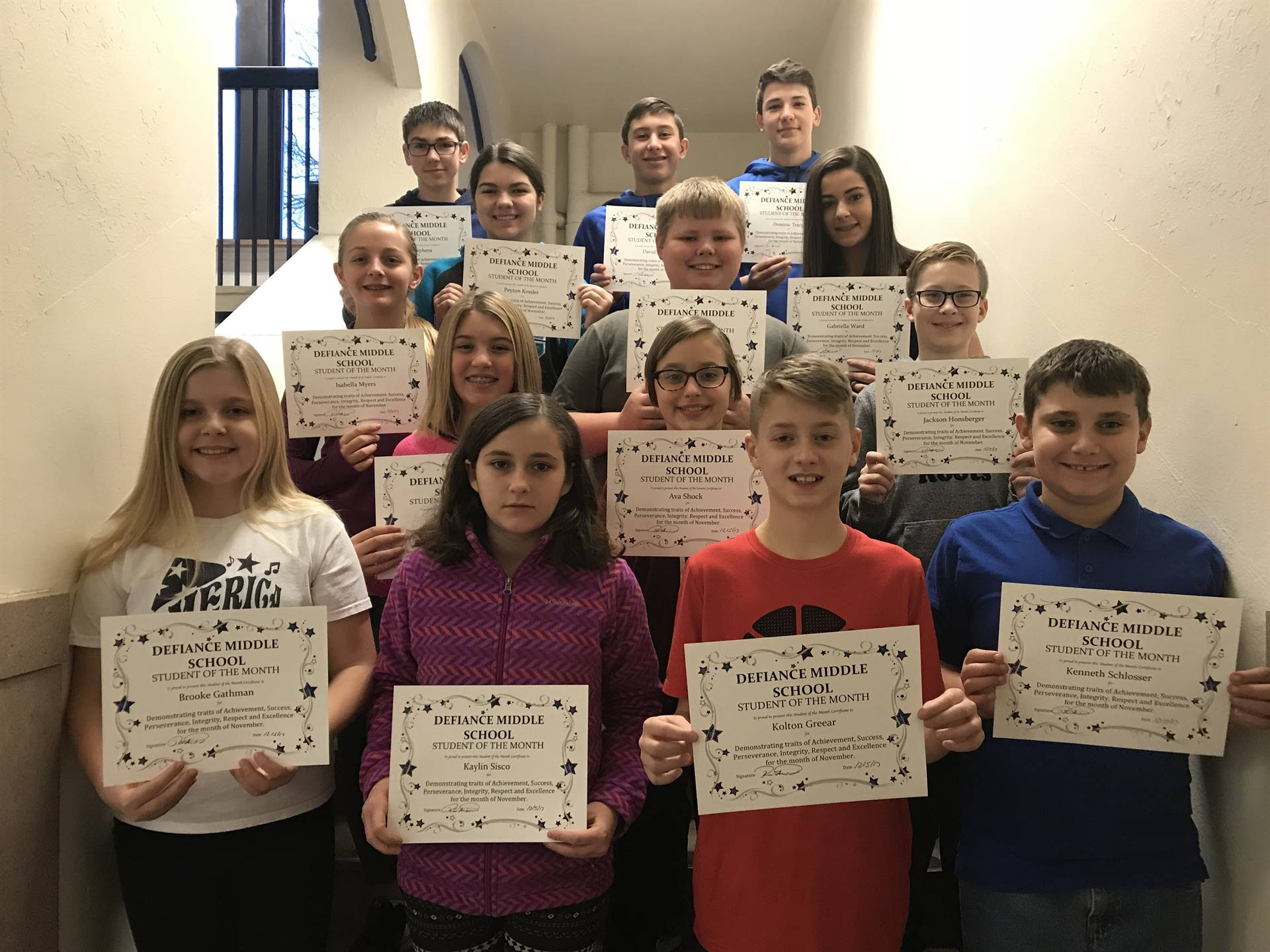November Student of the Month winners
