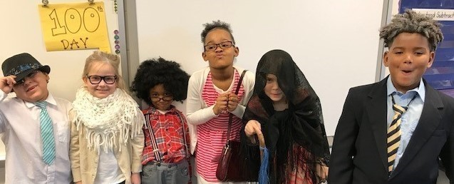 Elementary students on the 100th day of school