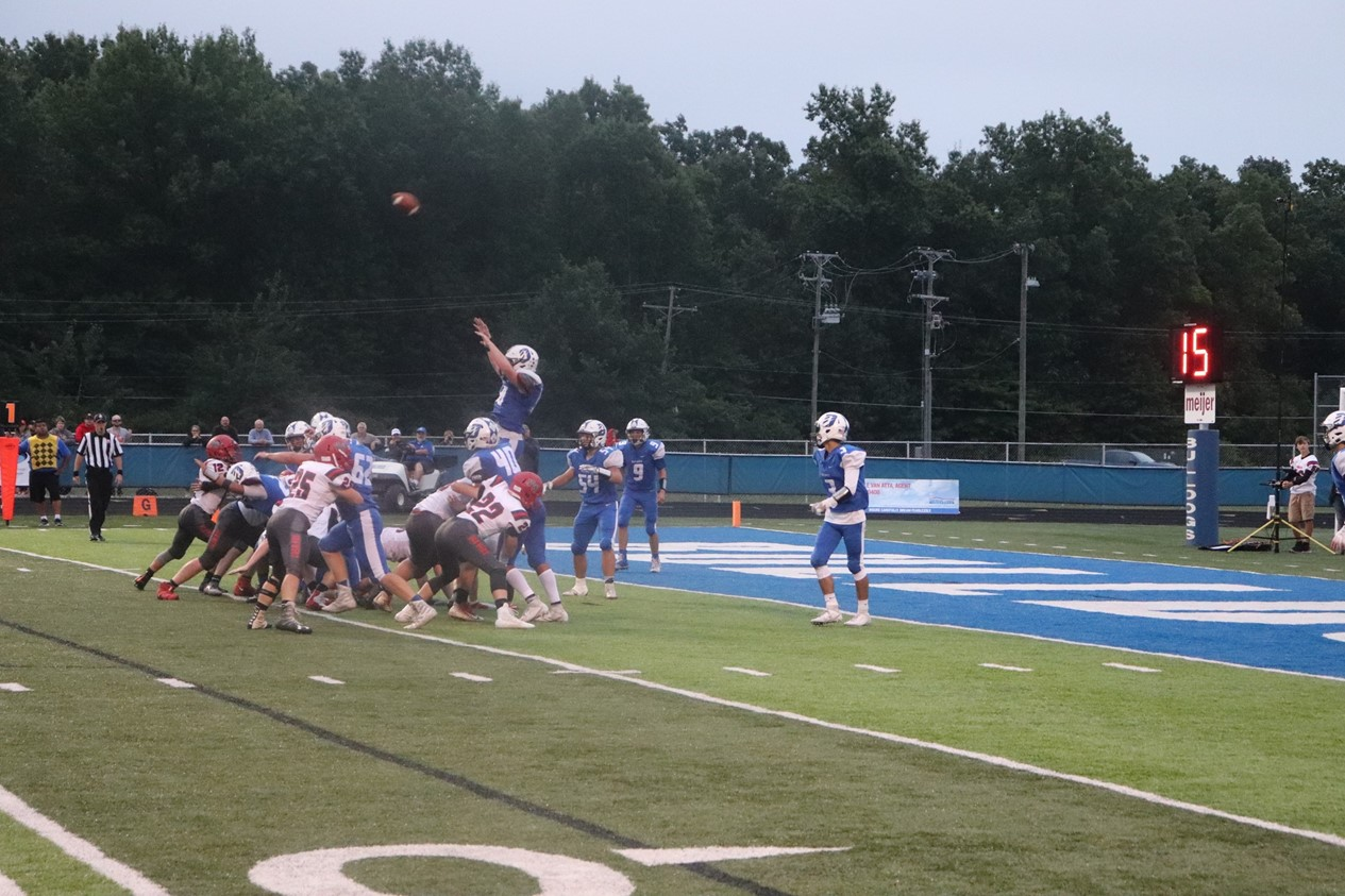 DHS Football action shot at field goal line